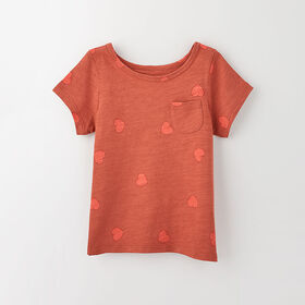 simple roll-sleeve pocket tee, 2-3y - rust print