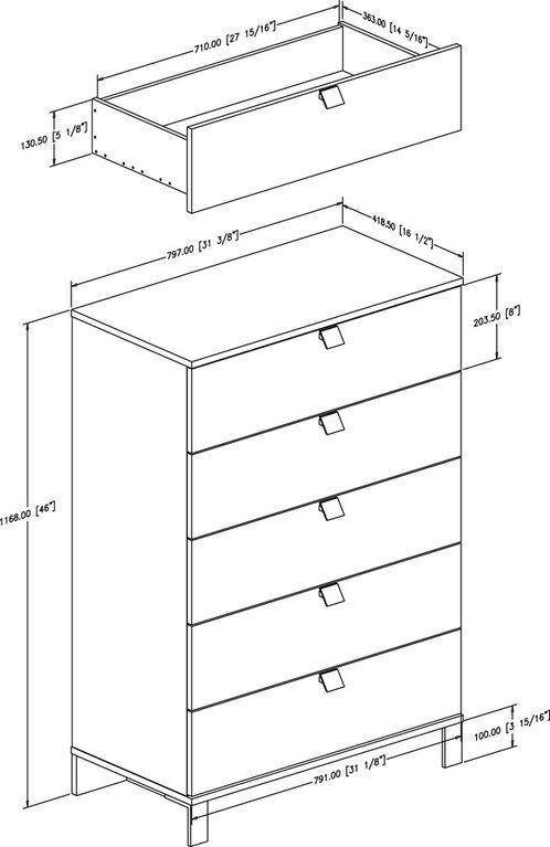 Spark 5-Drawer Chest Dresser- Pure Black