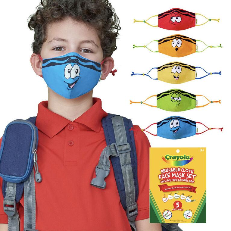 Crayola Jeu De Masques En Tissu Réutilisables pour enfants, Tip Faces