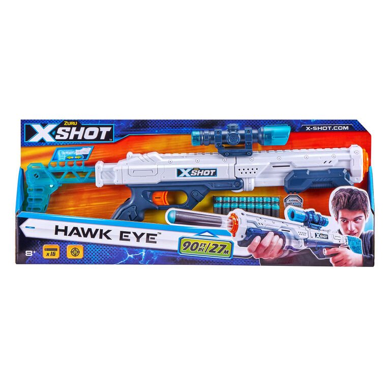 Lanceur de fléchettes en mousse X-Shot Excel Hawk Eye (16 Fléchettes)