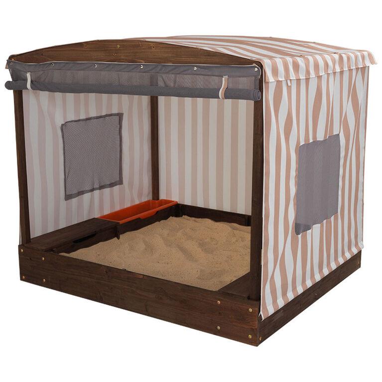KidKraft - Bac à sable avec tente - Beige et blanc à rayures