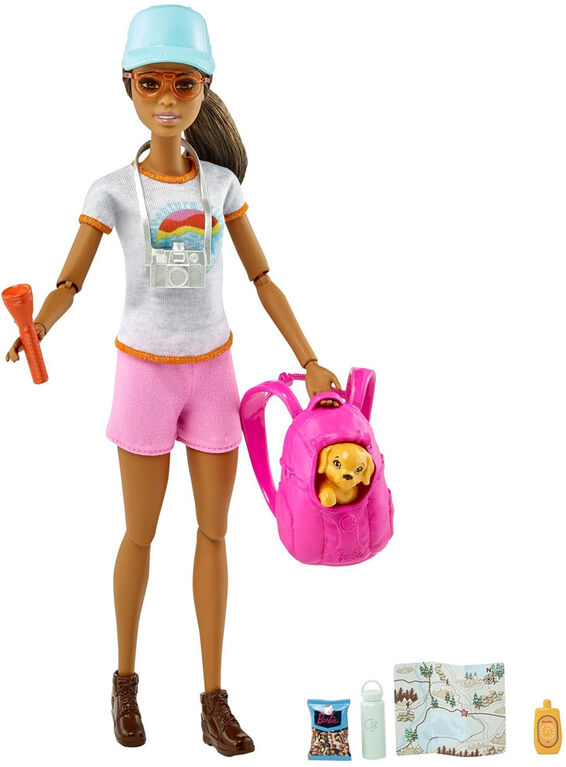 Barbie Hiking Doll, Brunette, with Puppy & 9 Accessories
