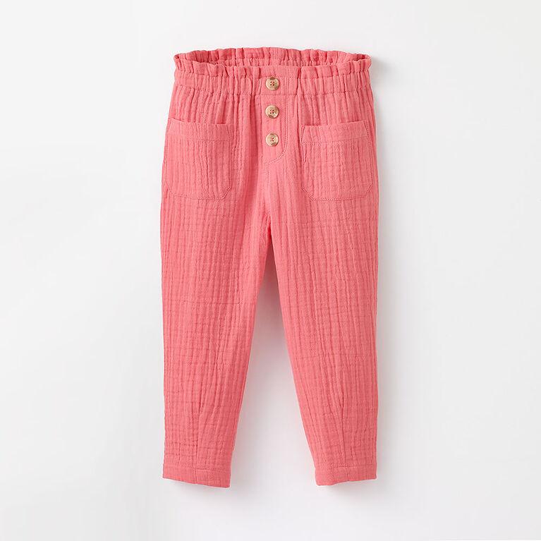 5-6 ans pantalon à taille froncée - rose