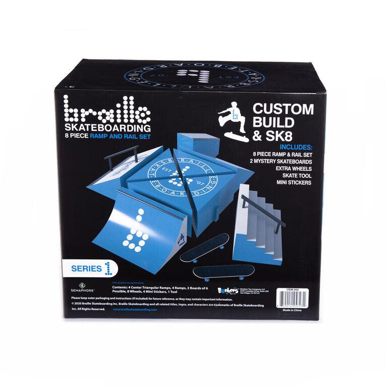 Braille Skateboarding Skate Ramp and Rail Playset - English Edition