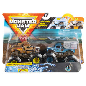 Monster Jam, Official Horse Power vs. Whiplash Color-Changing Die-Cast Monster Trucks, 1:64 Scale