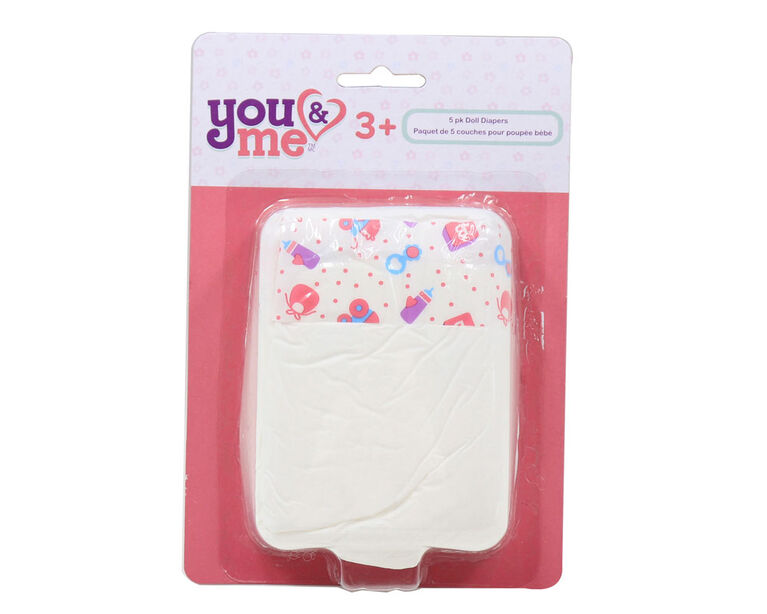 You & Me -  5 pack Doll Diapers - R Exclusive - English Edition