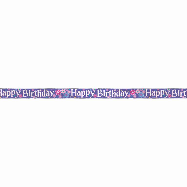 Foil Birthday Blossoms Banner, 12 ft - English Edition