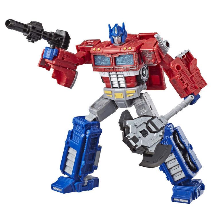 Transformers Generations War for Cybertron: Siege - Figurine Optimus Prime de classe voyageur.