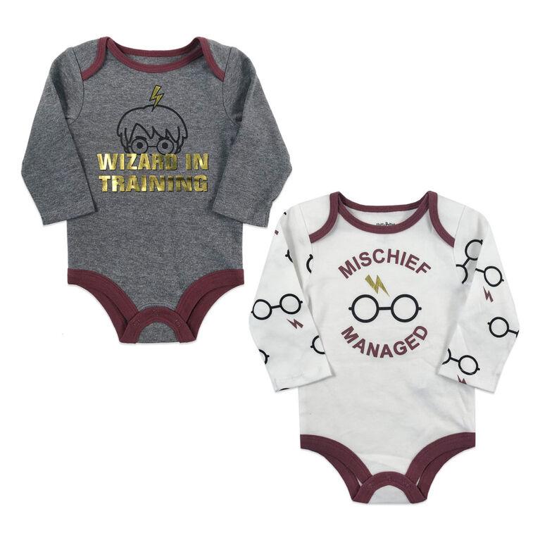 Harry Potter 2 Pack Bodysuits - Grey, Newborn.
