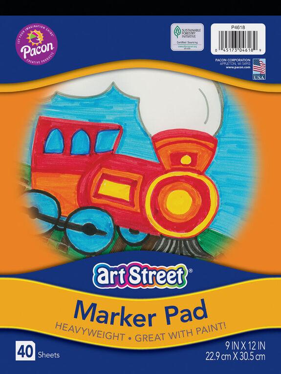 "Art Street Marker Pad, blanc, 9 ""x 12"", 40 feuilles - Édition anglaise"