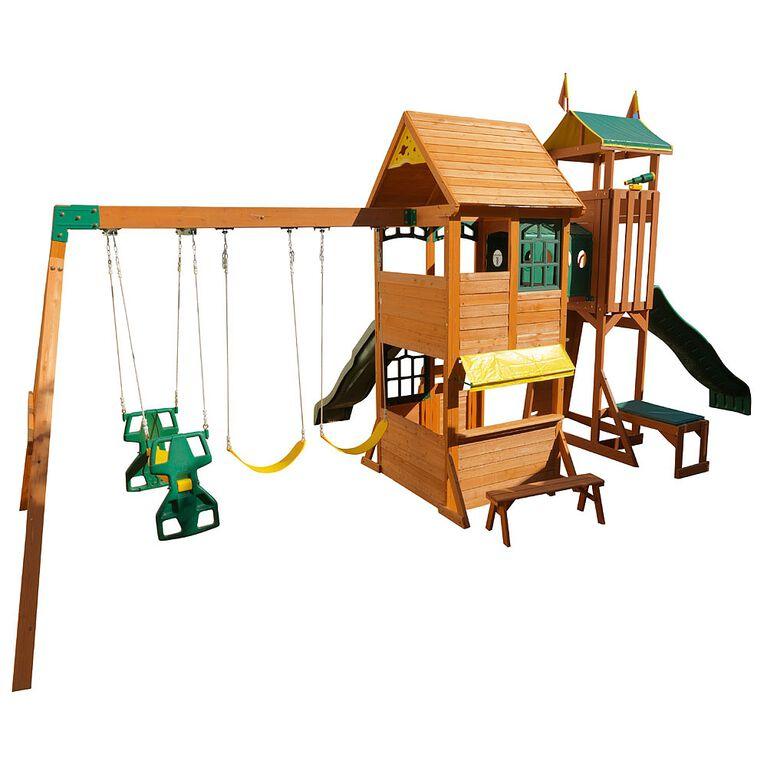 KidKraft Yellowstone Lodge & Adventure Tower Wooden Swing Set