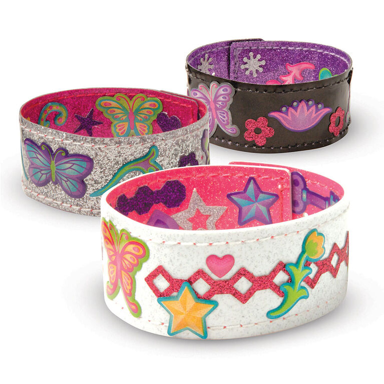 Melissa & Doug Design-Your-Own Bracelets With 100+ Sparkle Gem and Glitter Stickers - styles may vary