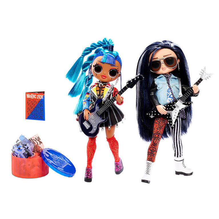 L.O.L. Surprise! O.M.G. Remix Rocker Boi and Punk Grrrl 2 Pack - 2 Fashion Dolls with Music - English Edition