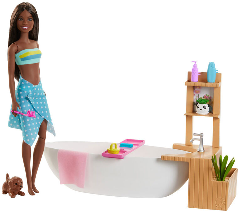 Barbie Fizzy Bath Doll and Playset, Brunette, with Tub, Puppy & More
