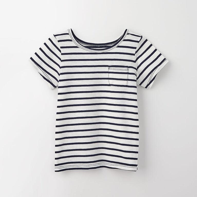 3-4 ans t-shirt à poche à manches courtes - rayures marine