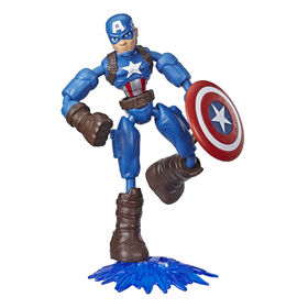 Marvel Avengers Bend And Flex Action Figure Toy, 6-Inch Flexible Captain America Figure, Includes Blast Accessory