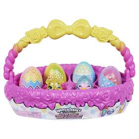 Hatchimals CollEGGtibles, Panier de printemps avec 5 Hatchimals et 3 animaux de compagnie, Cadeau de Pâques