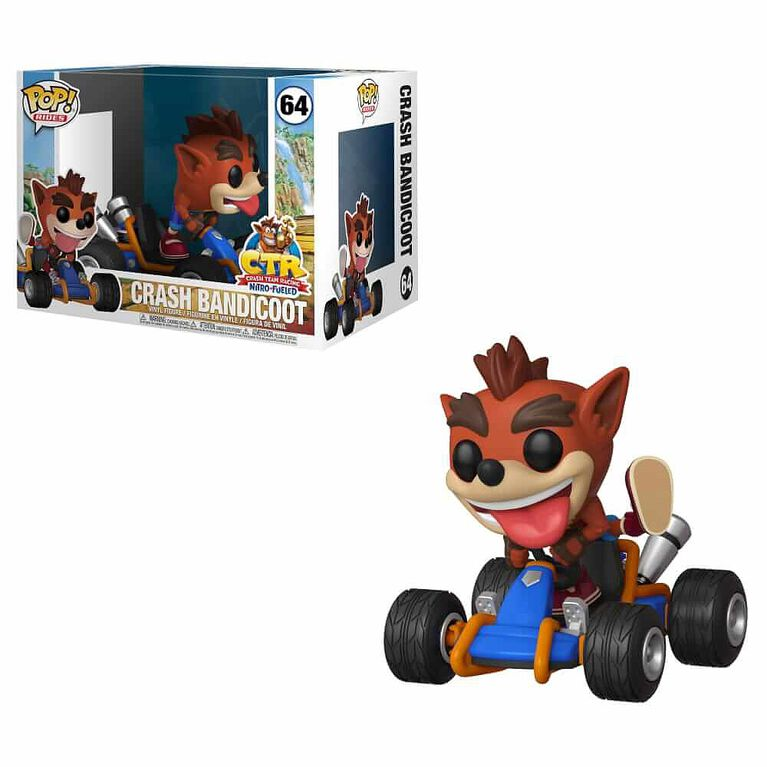 Figurine en vinyle Crash Bandicoot de Crash Team Racing par Funko POP Ride!