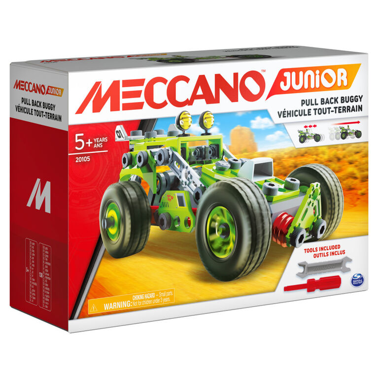 Meccano Junior, 3-in-1 Deluxe Pull-Back Buggy STEAM Model Building Kit