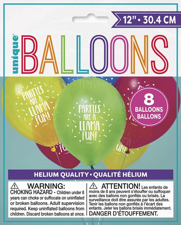 "Llama Birthday 12"" Latex Balloons, 8 pieces - English Edition"