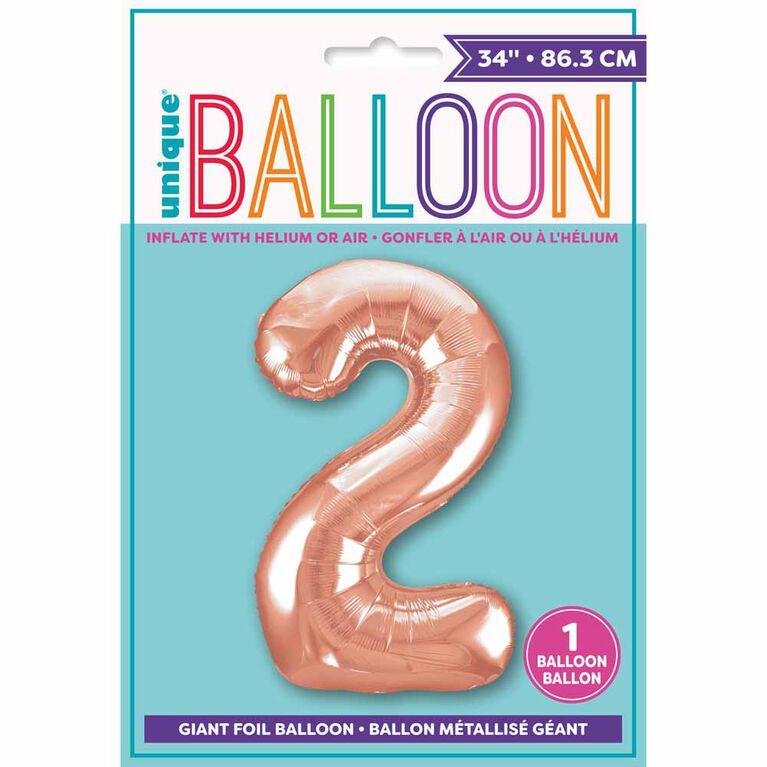 """Ballon en aluminium en forme de nombre en or rose 34"""" - 2"""