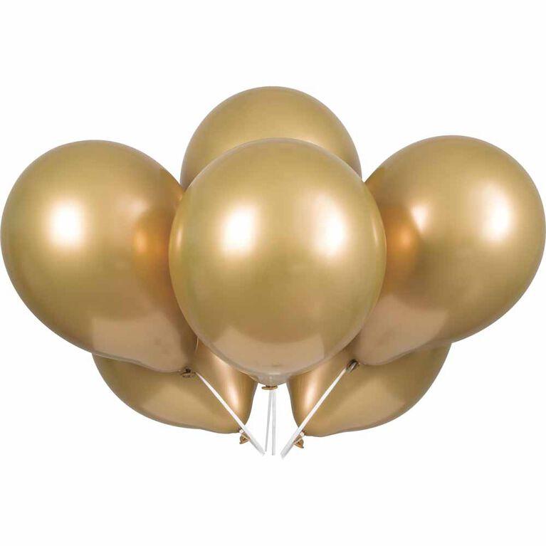 "Gold Platinum 11"" Latex Balloons, 6 pieces"