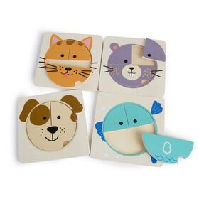 Imaginarium Discovery - Wooden Baby Animal Puzzle Assortment - Animal Baby Face