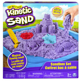Kinetic Sand, coffret Bac à sable avec 454 g (1 lb) de sable Kinetic Sand violet