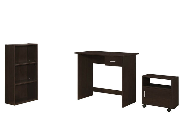 Monarch 3 Piece Computer Desk Set - Cappuccino