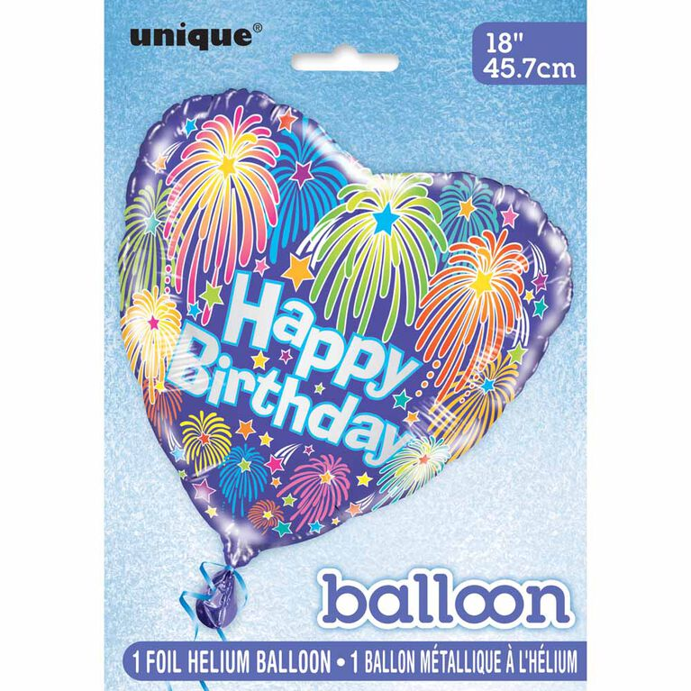 "Heart Bday Fireworks Foil 18"" - English Edition"