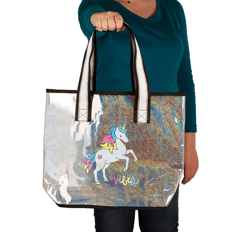 Transparent  Holographic Tote -Good Vibes Unicorn - English Edition