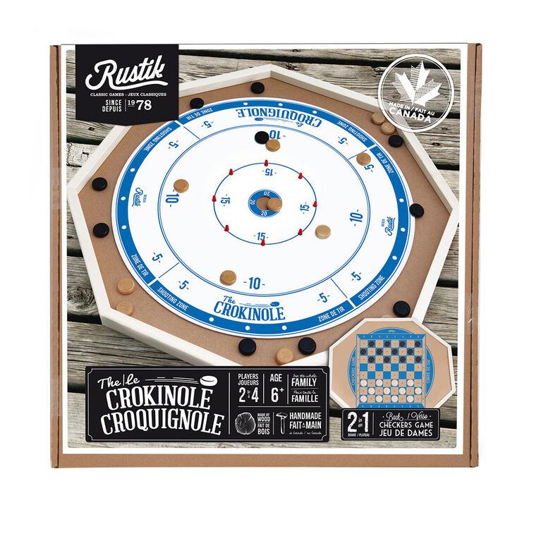 The Crokinole 2 in 1 Wooden Game