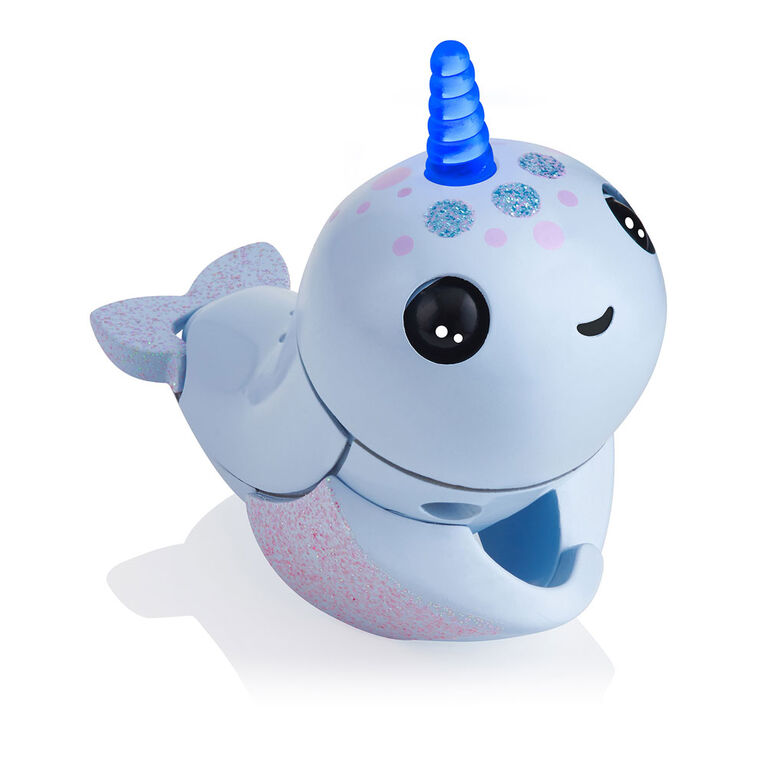 WowWee Fingerlings Light Up Narwhal - Nori (Blue) - Friendly Interactive Toy