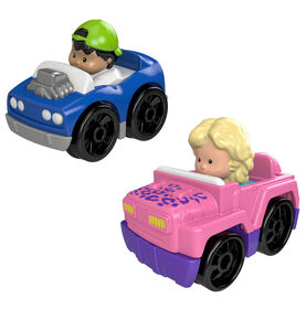 Fisher-Price Little People Wheelies 2-Pack, 4x4 & Hot Rod
