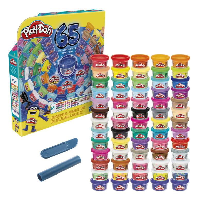 Play-Doh Coffret 65 ans, 65 pots de 28 grammes de pâte à modeler atoxique  - Notre exclusivité
