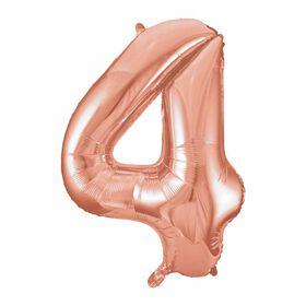 """Rose Gold Number 4 Shaped Foil Blln 34"""""""