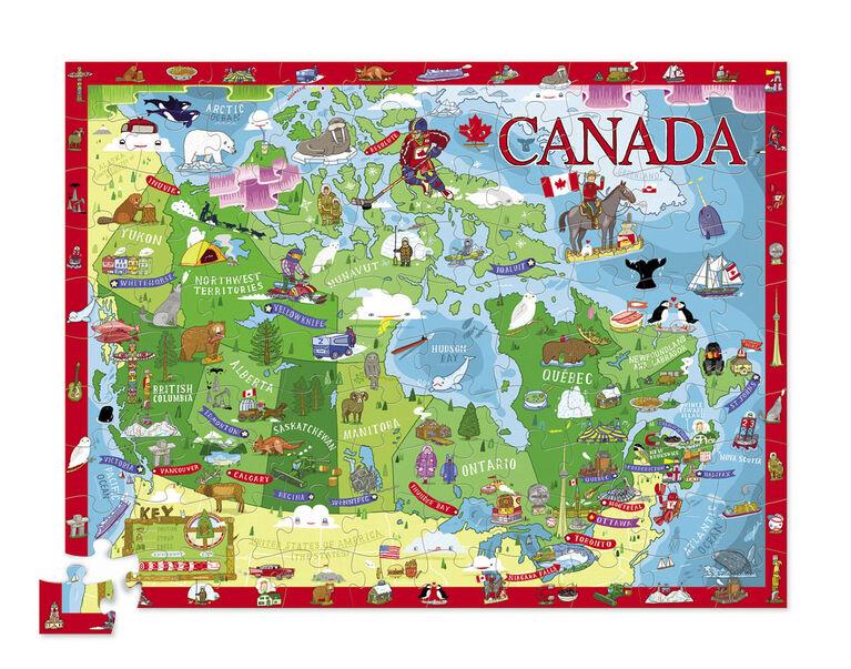 Crocodile Creek - Discover Canada Learn + Play 100 piece Jigsaw Floor Puzzle and 21 Figures, 36