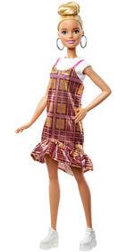 Barbie Fashionistas - Poupée142, chignon blond et robe à carreaux