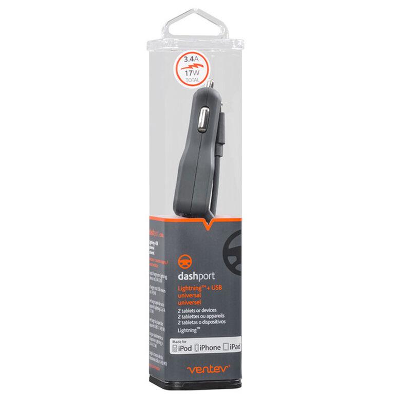 Ventev Chargeur de Voiture USB-C 4A avec Extra USB Noir