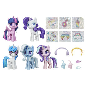 My Little Pony - Unicorn Sparkle Collection Set of 5 Toy Pony 3-inch Figures, with Glittery Unicorn Horns and 12 Surprise Accessories - R Exclusive