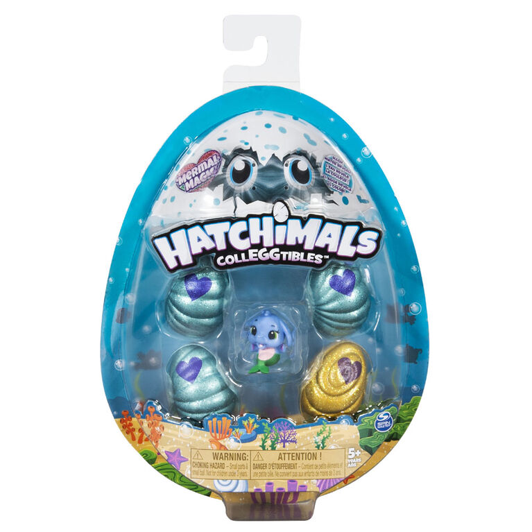 Hatchimals CollEGGtibles, Pack de 4 + bonus 'Mermal Magic' avec Hatchimals Saison 5.