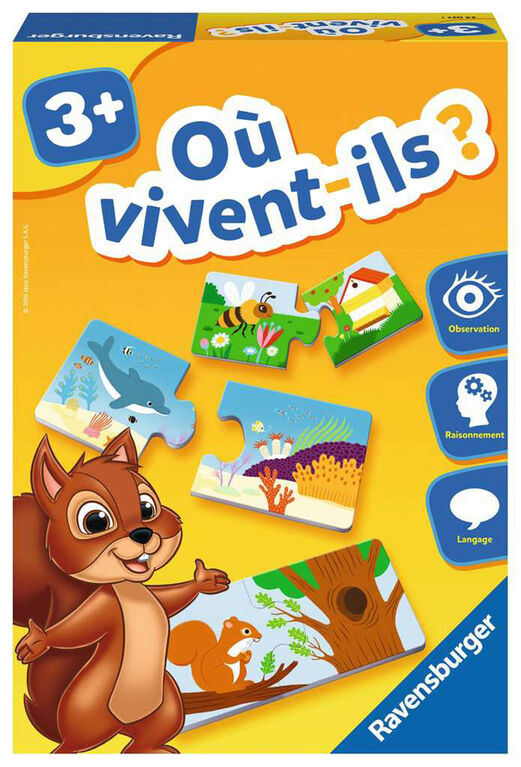 Ravensburger! Where Do They Live? Game - French Edition