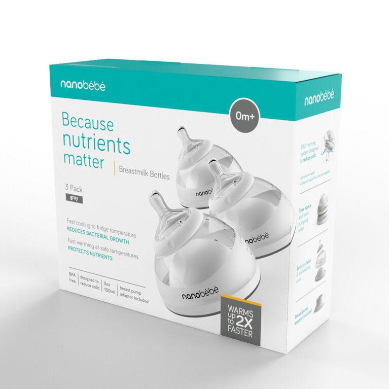 nanobébé - Breastmilk Bottle 5oz/150ml 3 Pack - Grey