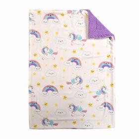 Baby's First By Nemcor Ultimate Sherpa Baby Blanket- Unicorn Design