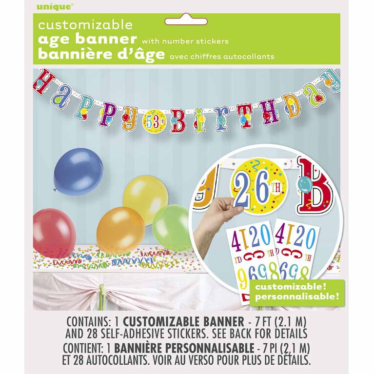 Happy Birthday Banner with Number Stickers - English Edition