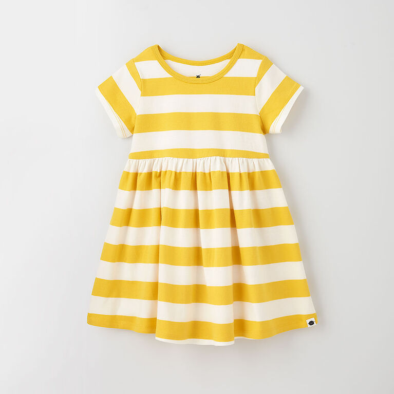4-5 ans robe à manches courtes - rayures bambou