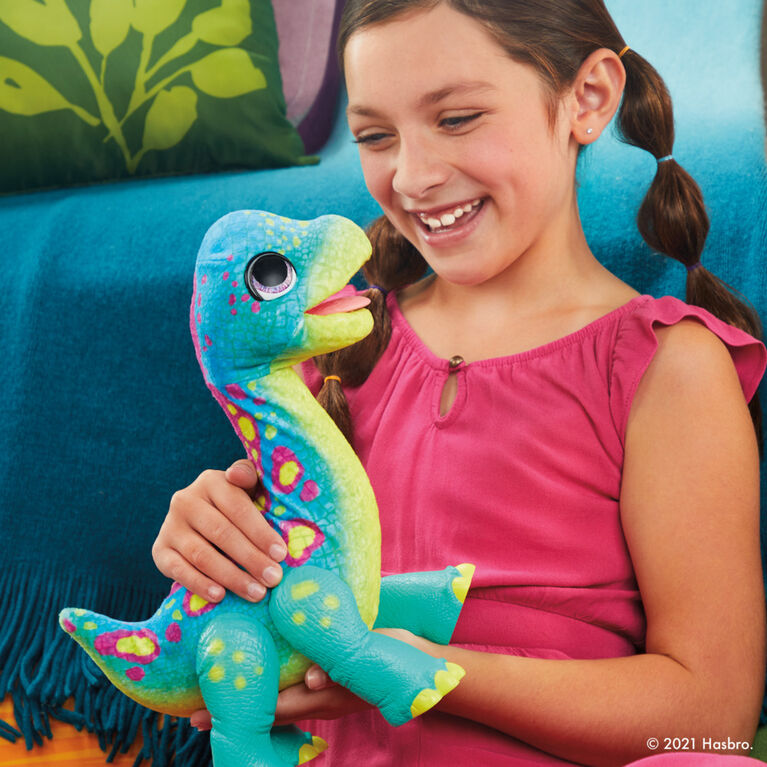 furReal Snackin' Sam the Bronto Interactive Animatronic Plush Toy, 40+ Sounds and Reactions