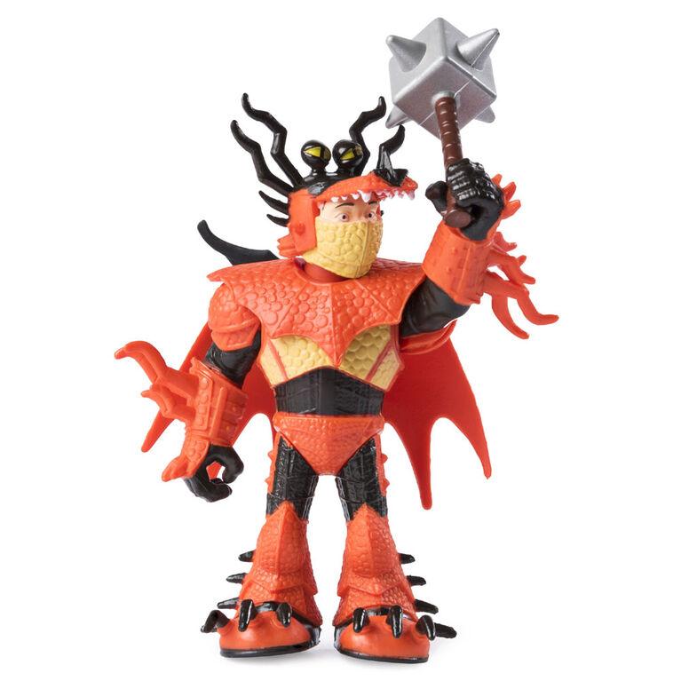 How To Train Your Dragon, Krochefer et Rustik le Morveux, dragon avec figurine Viking en armure.