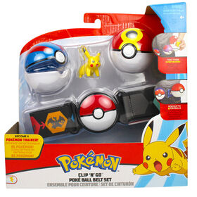 Clip 'N' Go Poké Ball Belt Set - 2 Inch Pikachu #1, Great Ball, Repeat Ball - English Edition