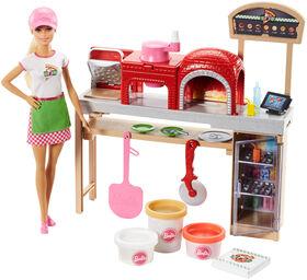 Barbie - Poupée Barbie Chef pizza et Coffret de jeu.
